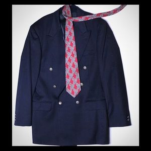 Oscar de la Renta_Navy Double Breasted Men Blazer